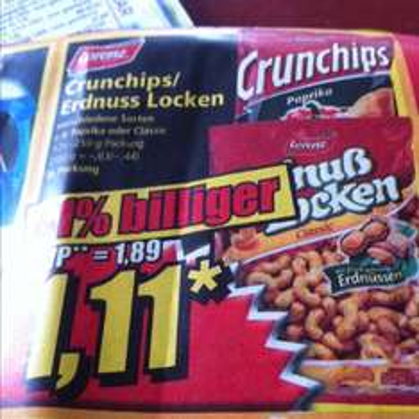 Lorenz Crunchips / Erdnuss Locken 41% billiger (lokal) Norma bis 22.02