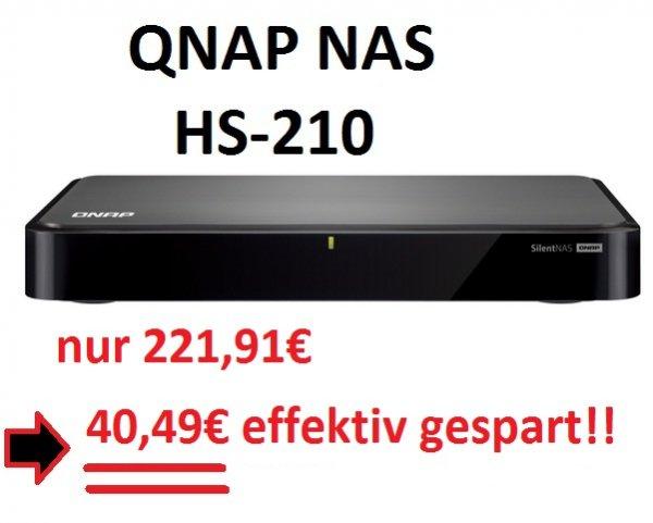 [notebooksbilliger] QNAP HS-210 (lüfterlose NAS) --> satte 40,49€ Ersparnis !!