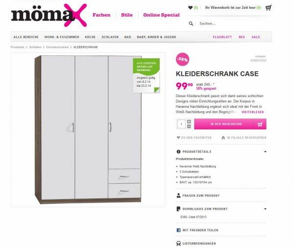 Kleiderschrank 99,90 € statt 240 € @mömax - Angebot endet am 23.2.2014
