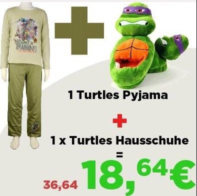 Pyjama und Hausschuhe von Turtles für 18,94€ all IN statt 36,94€ @Elfen.de