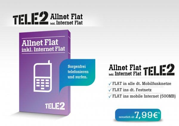 Tele2 Allnet Flat 500 MB bis 30.Juli 42 Mbit/s dann 7,2 Mbit/s für effekiv 9,15€/Monat