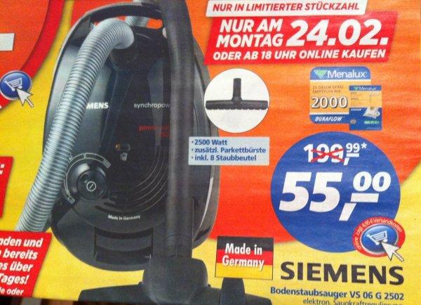 [Berlin]Siemens Staubsauger vs06g2502 2500W inkl. 8 Staubbeutel für 55€ am Montag 24.02.