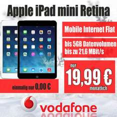 0€ Apple iPad mini 2 Retina 16GB LTE | Vodafone Mobile Internet Flat 7,2 oder 21,6