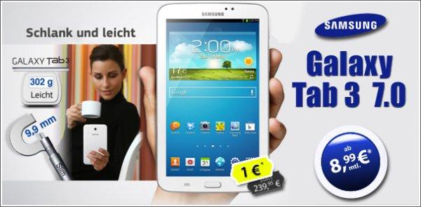 Samsung Galaxy Tab 3 T2110 7.0 3G WIFI + Internet + O2 Flat + 200 SMS + 50 Min nur 8,99€ im Monat