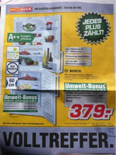 Bosch Kühl-/Gefrierkombination KGV33X27 für 379 € (Offline: MediMax)