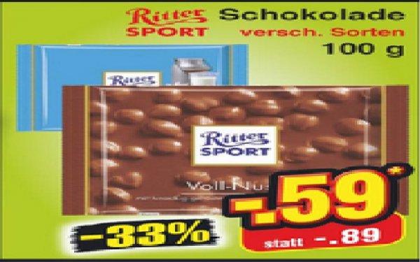 Netto ohne Hund (Bundesweit) Ritter Sport Schokolade 100g versch. Sorten 0,59€
