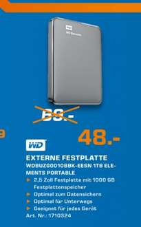 "Western Digital Elements Portable 1TB 2,5"" USB 3.0 Lokal [Saturn Aachen]"