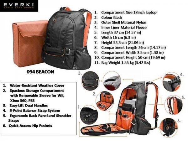 """Everki Beacon Notebook-Tasche 46,47 cm (18,4""""), NEU mit Etikett"""