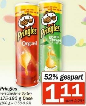 [HIT] Pringles versch. Sorten für 1,11 Euro