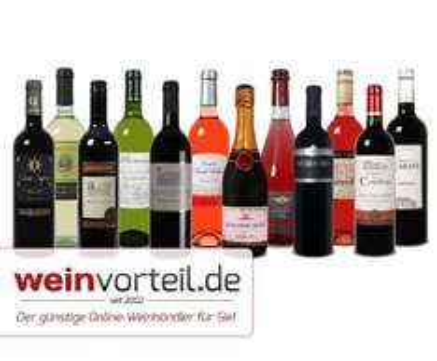 12 verschiedene Weine für 39,99, Vergleichspreis 108,88, von Weinvorteil