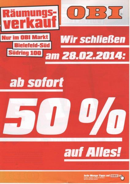 OBI Bielefeld Räumungsverkauf - 50% auf Alles