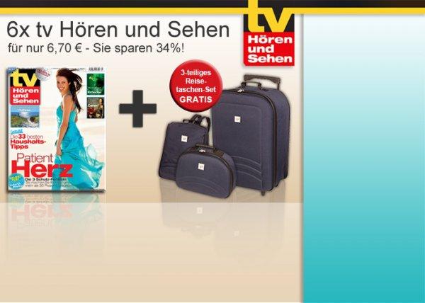 6 x TV Hören und Sehen + Reisetaschenset