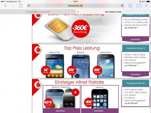 Vodafone Allnet Flat 29,99€ pro Monat mit Galaxy S4 & Gear zu 49,95€ und Apple iPhone 5S 16GB zu 49€ einmalig