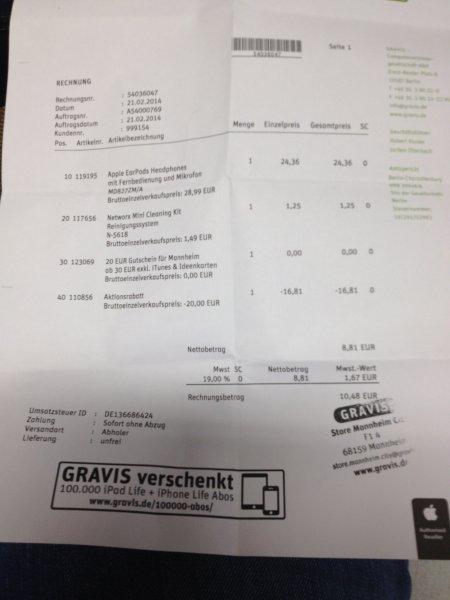 [LOKAL Gravis Mannheim City] Orginal Apple EarPods und vieles mehr durch 20€ Gutschein(ab 30€ Einkauf) !!!