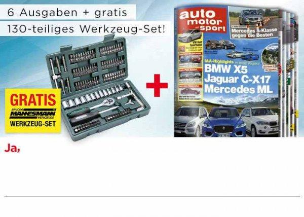 6x Auto Motor und Sport incl. 130teiligen Mannesmann Werkzeugkoffer für 16,80€.