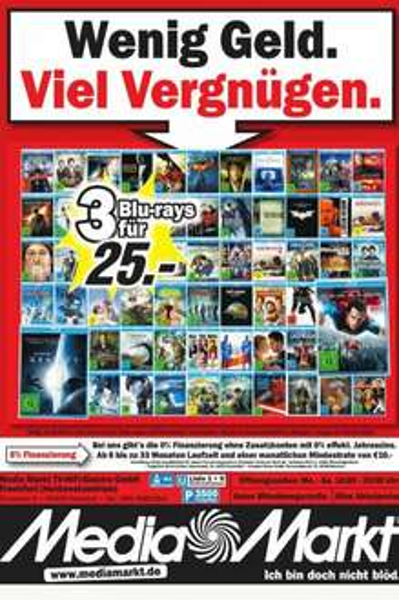 (Lokal) Media Markt Ffm NWZ 3 Blu Ray für 25,-€