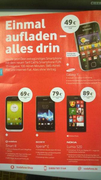 Lumia 520 Prepaid (Sim-Lock) bei Vodafone 89€