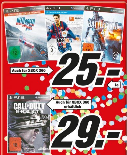 Fifa 14,NFS Rivals,Battlefield 4 für PS3/Xbox360 25€, COD Ghosts 29€ Lokal [Mediamarkt Düsseldorf]