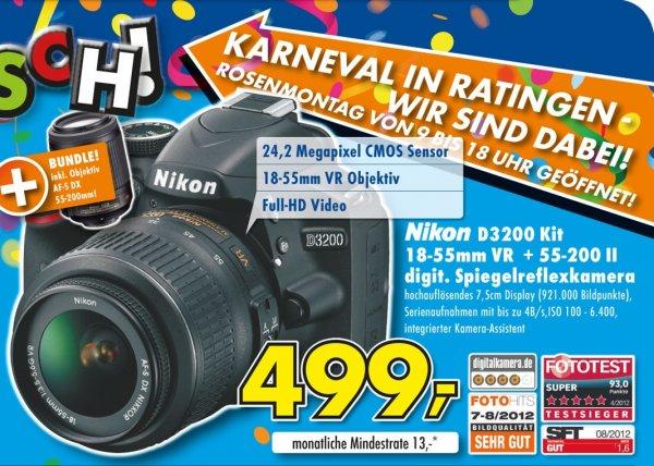 Nikon D3200 SLR Double Zoom Kit inkl. AF-S DX 18-55VR + 55-200VR 499€ Lokal [Euronics Ratingen]
