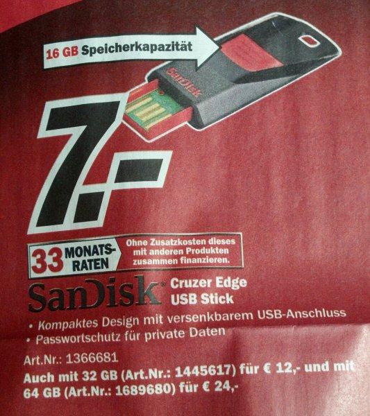 *Mediamarkt* *offline* Cruzer Edge USB Stick von Sandisk in 16, 32 und 64Gb