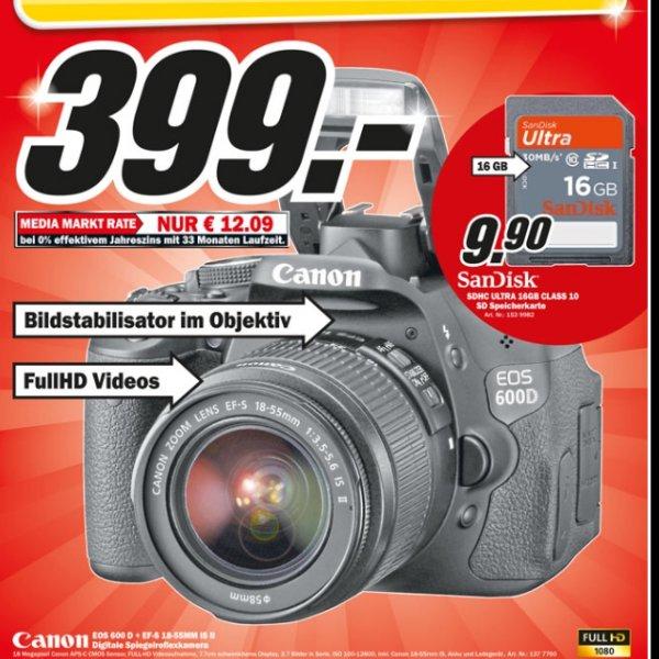 Lokal MM Weiterstadt - Canon eos 600d+18-55 is Kit für 399€