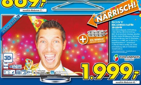 [Lokal] Sony 65 W 855 (400Hz, 3D) für 1999€ (500€ günstiger als Idealo!)