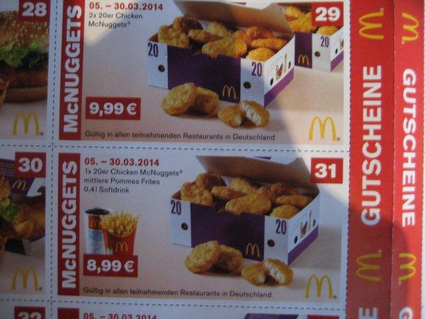 Mc Donalds Gutscheine ab 5.3 [z.B.2xChicken MC Nuggets für 9,99!]