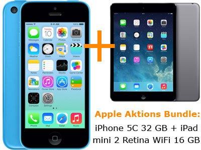 iPhone 5C 32 GB + iPad Mini Wifi Retina im T-Mobile Complete M für 0 Euro