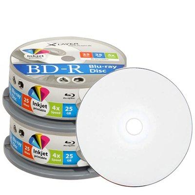 Blu-Ray Rohlinge Xlayer BD-R 25GB 4x bedruckbar (50 Stück) + Dreifach DVD Hüllen recycled transparent (25 Stück) 25,00€