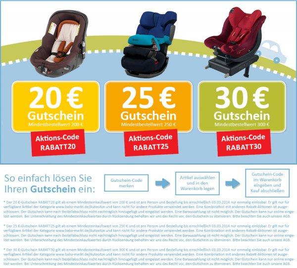 Babymarkt: Bis zu 30€ Rabatt auf Kinder-Autositz und freies Geschenk