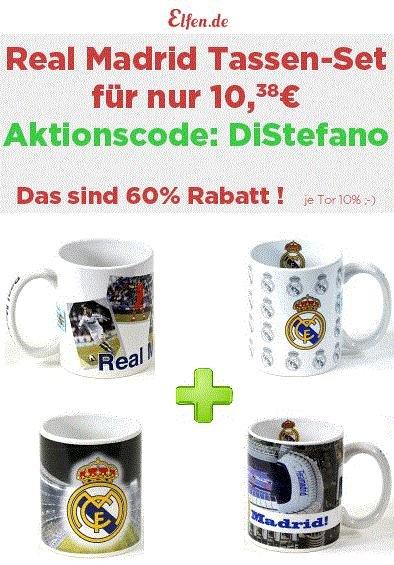Real Madrid Woche: 60% Rabatt beim Kauf von 4 Real Madrid Tassen