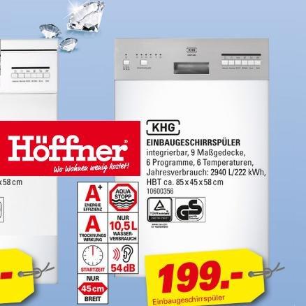 Geschirrspüler bei Höffner, A+, Breite 60 oder 45 cm, als Stand- oder Einbaugerät