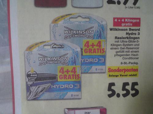 Kaufland Wilkinson Hydro 3 8 Klingen  € 5,55 ab Montag