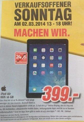 "Lokal Medimax Kiel     ""Ipad Air für 399€""    Verkaufsoffener Sonntag am 2. März"