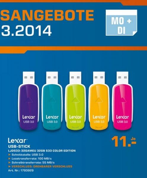 Lexar JumpDrive S33 USB 3.0 Stick 32GB für 11€ Tagesangebot Lokal [Saturn Wesel]