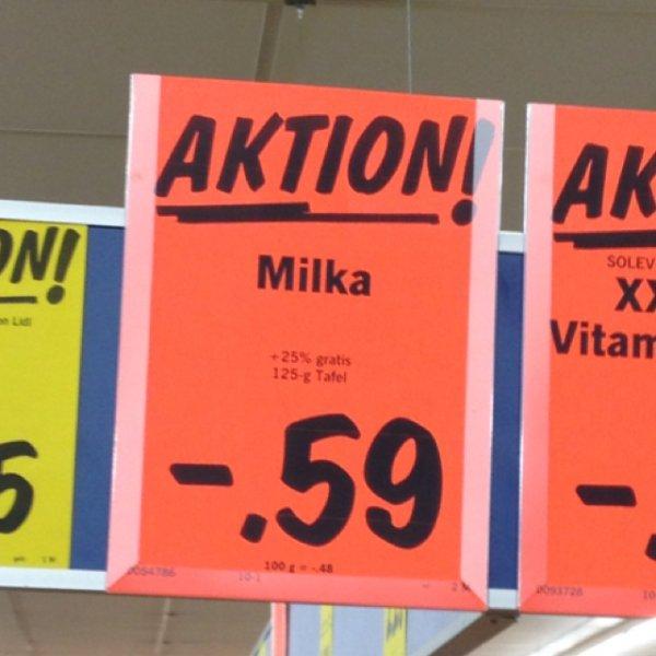 [Lidl] Milka Schokolade versch. Typen 125gr. 0,59€