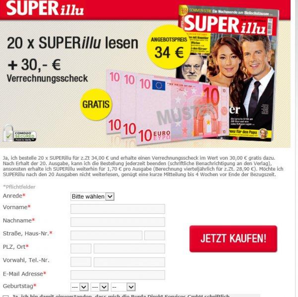[online] Verlagsaktion Superillu 20 Ausgaben für 4 Euro