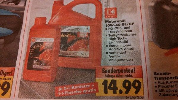 6l Motorenöl 10W40 bei Kaufland, 14,99€