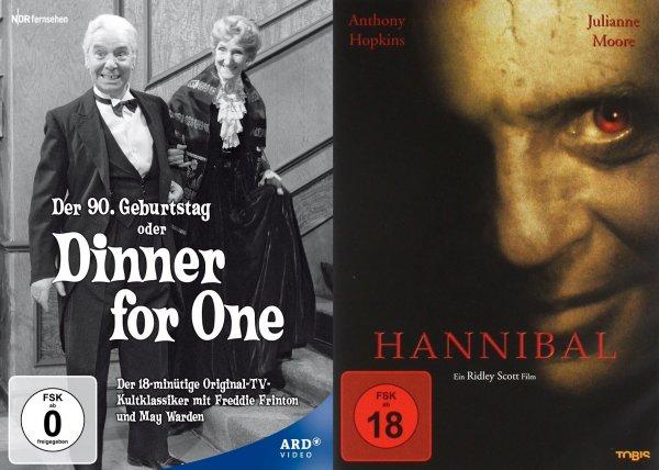 [DVD] Dinner for One (Oder: Der 90. Geburtstag) Komödie & [DVD] Hannibal für je 2,90 EUR bei Abholung in Filiale @ Saturn.de