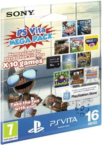 PS Vita 16 GB Speicherkarte mit Mega Pack (mit 10 Spielen, u.a. Little Big Planet) oder Disney Mega Pack (6 Spiele)