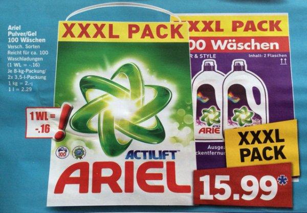[LIDL] Ariel XXXL Pack 8kg 100 WL 15,99 Euro