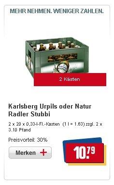 (LOKAL REWE MERZIG) 2x20x0,33-l-Fl.-Kasten Karlsberg Urpils oder Natur Radler Stubbi für 10,79€