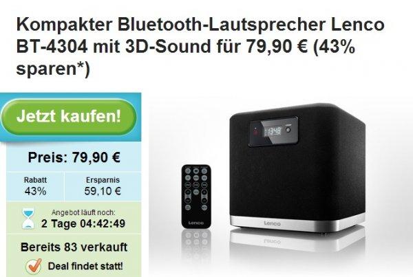 [Groupon] Lenco BT-4304 3D Sonic Emotion Lautsprecher (Bluetooth, 80 Watt) für Smartphone und Tablet