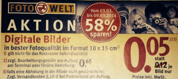 Rossmann Fotowelt nur 0,05€ (58% sparen)