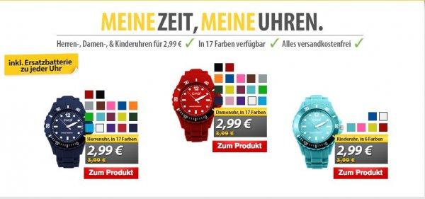 (MeinPaket) CM3 Silikon  Armbanduhr für Kinder, Frauen und Männer inkl. 2ter Ersatzbatterie inkl Versand