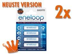 (MeinPaket) Sanyo Eneloop Akku AAA 800mAh HR4-UTGB neuste Version 8 Stück für 12,59 Euro, 16 Stück für 23,91 Euro