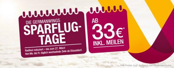 Sparflugtage bei Germanwings: Täglich wechselnde Ziele ab 33€