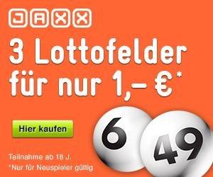 Jaxx 3 Lotto Felder für 1€ (Neukunden)