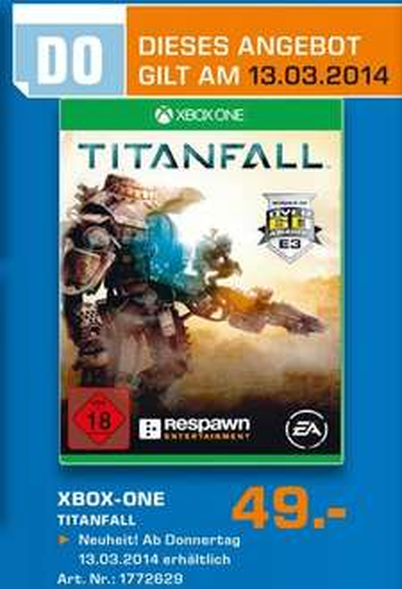 Titanfall (Xbox One) für 49€ Tagesangebot 13.03.14 Lokal [Saturn Neuss]