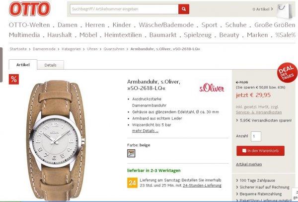 S.OLIVER schöne Uhr für die Dame bei Otto mit Gutschein 24,- Euro statt 79,99